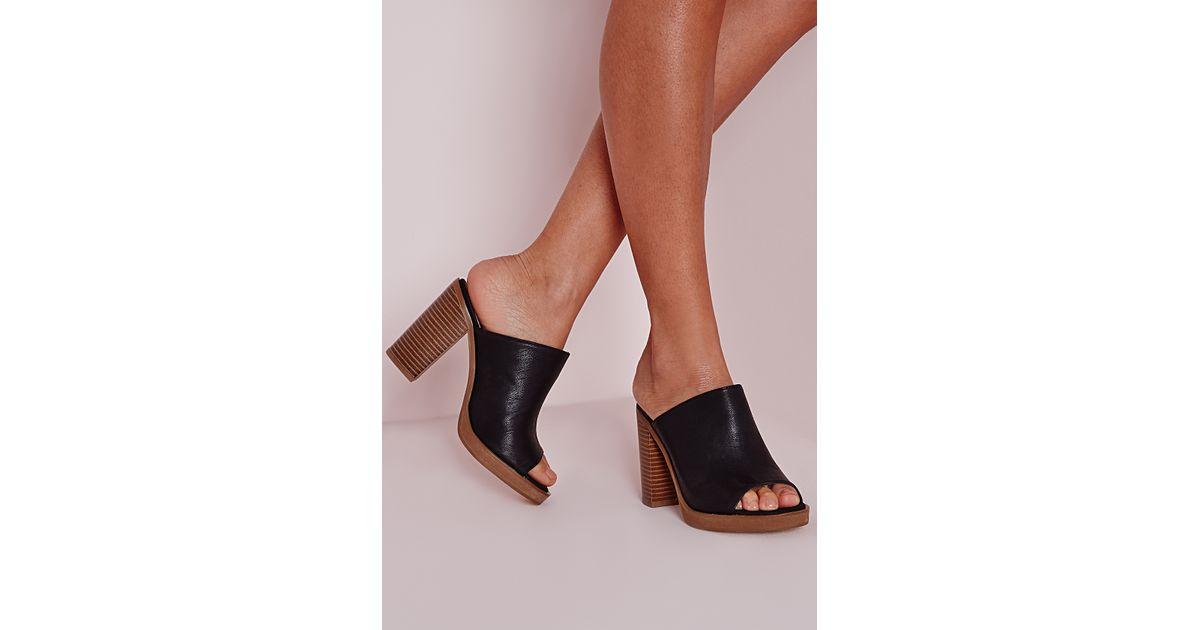 8f7caa479a1a3 Missguided Peep Toe Block Heel Mules Black in Black - Lyst