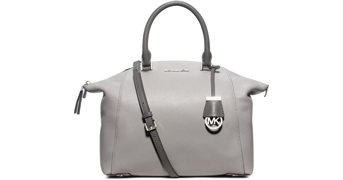 Michael Kors Riley Laukku : Michael kors riley large leather satchel in gray lyst