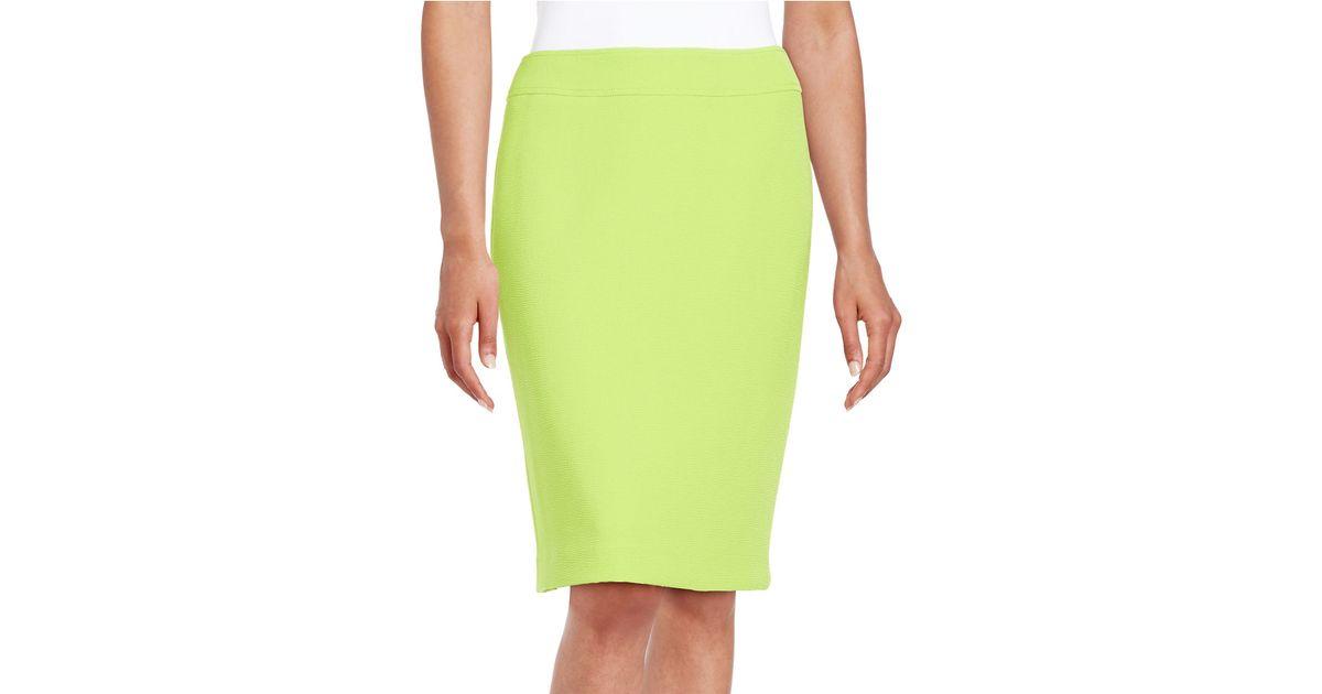 tahari textured pencil skirt in green lime green