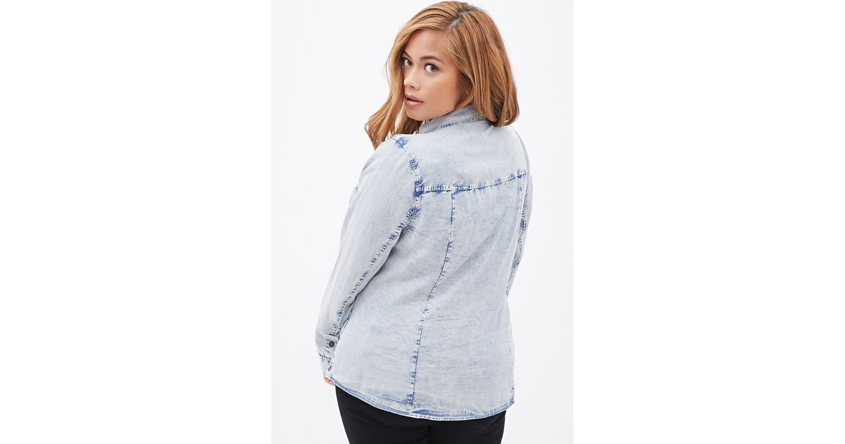 Forever 21 plus size faded chambray shirt in blue lyst for Plus size chambray shirt