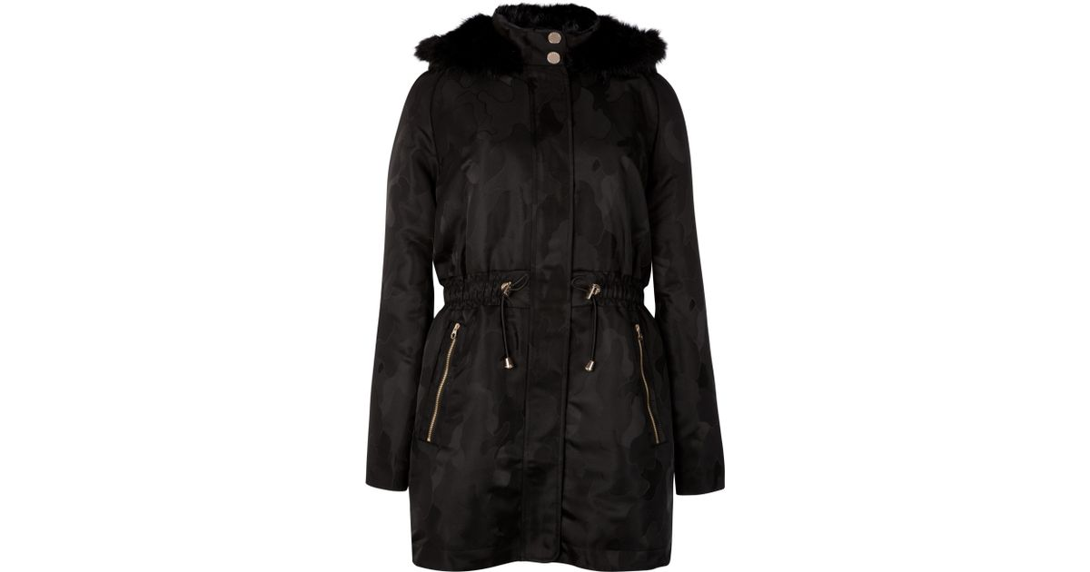 1c2763e89c5a Ted Baker Camo Jacquard Parka in Black - Lyst
