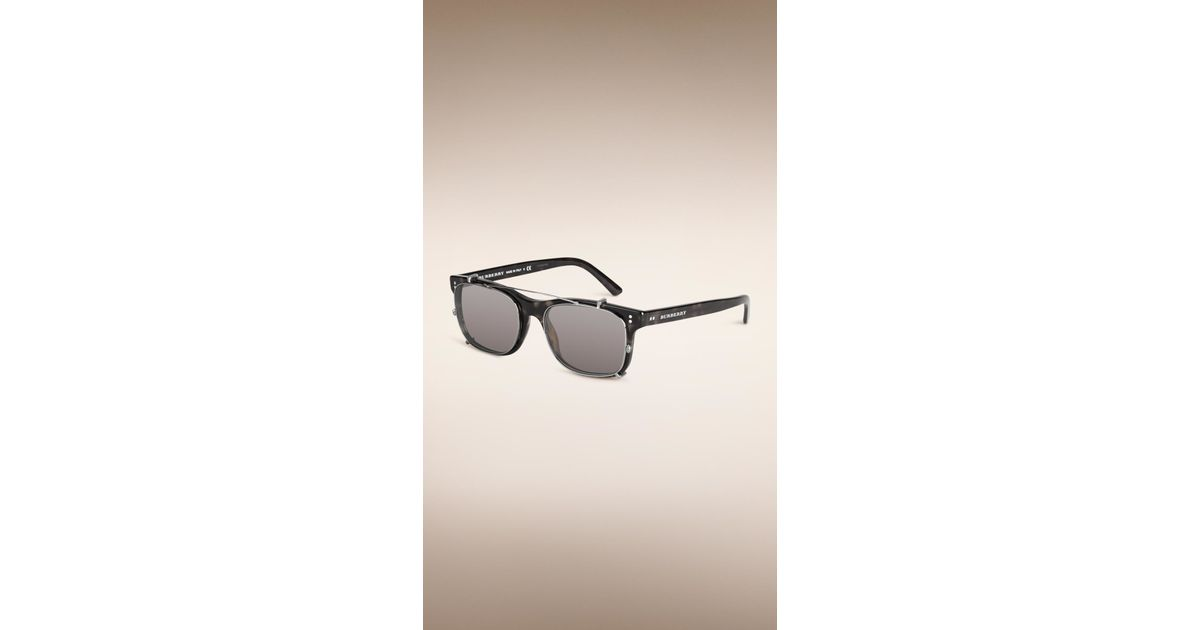 2d481a15365e2 Burberry Square Frame Sunglasses With Clip-on Lenses Grey in Black for Men  - Lyst