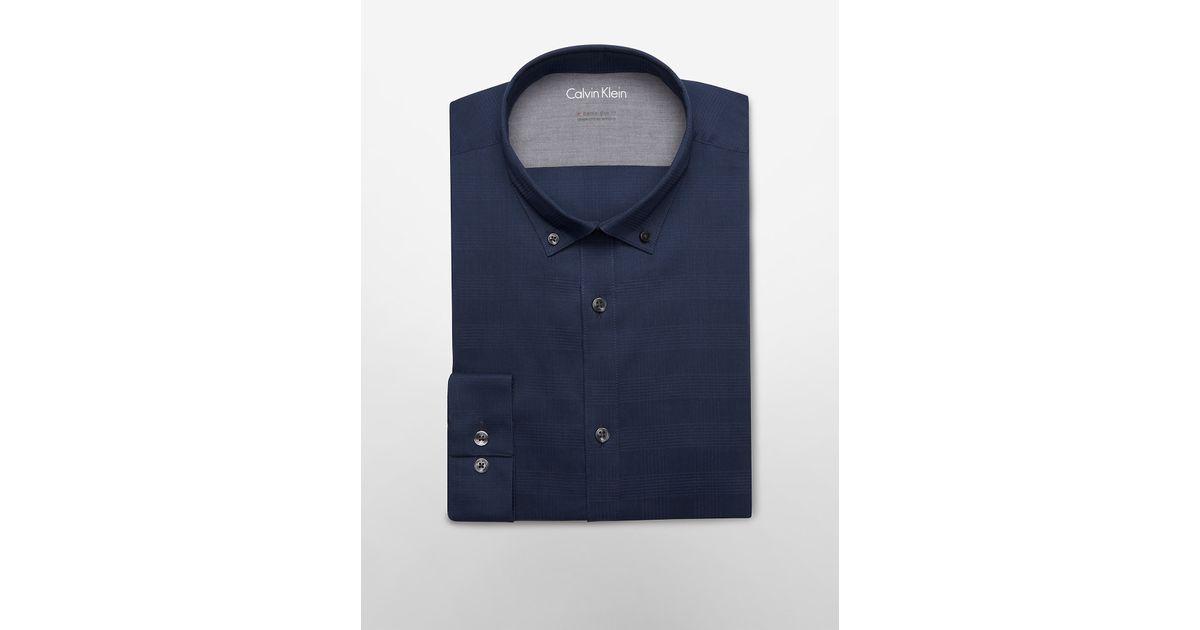 Calvin klein x fit ultra slim fit tonal textured plaid for Calvin klein x fit dress shirt