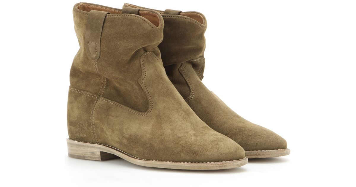 marant toile crisi suede ankle boots in brown lyst