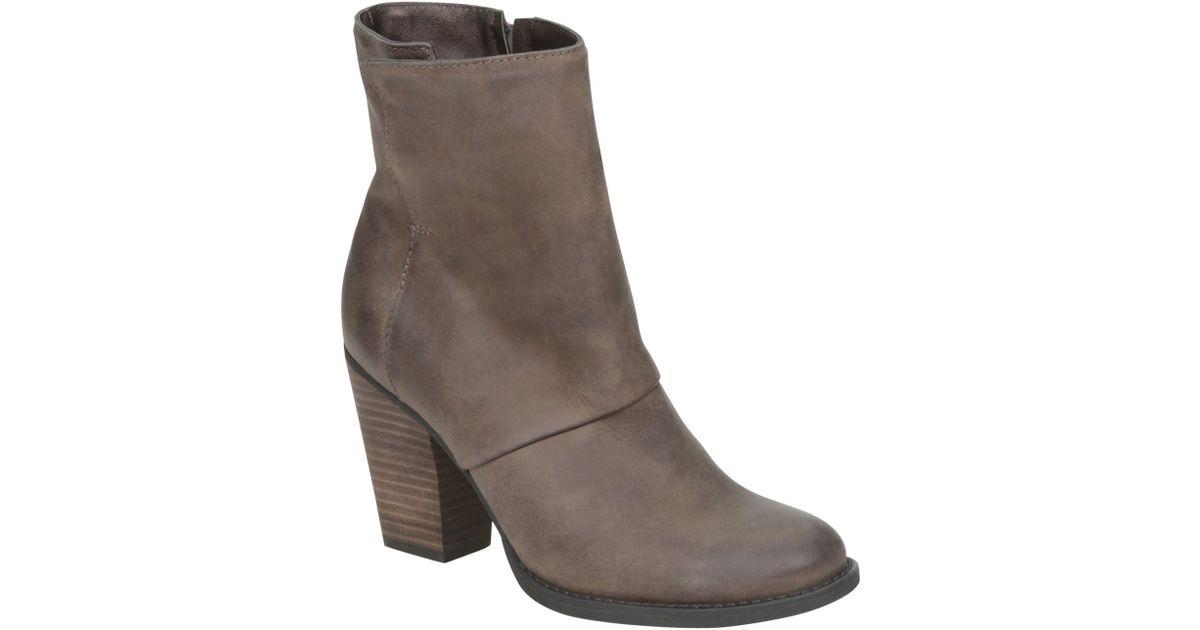 aldo izabel block heel round toe boots in brown lyst