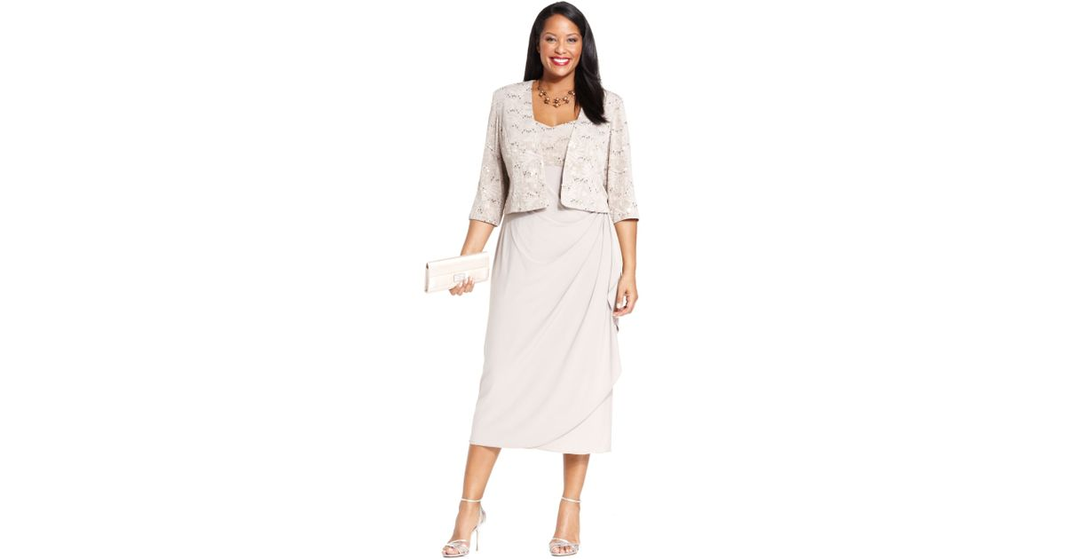 cffd572f924 Alex Evenings Plus Size Sleeveless Jacquard Sequin Dress and Jacket in  Natural - Lyst