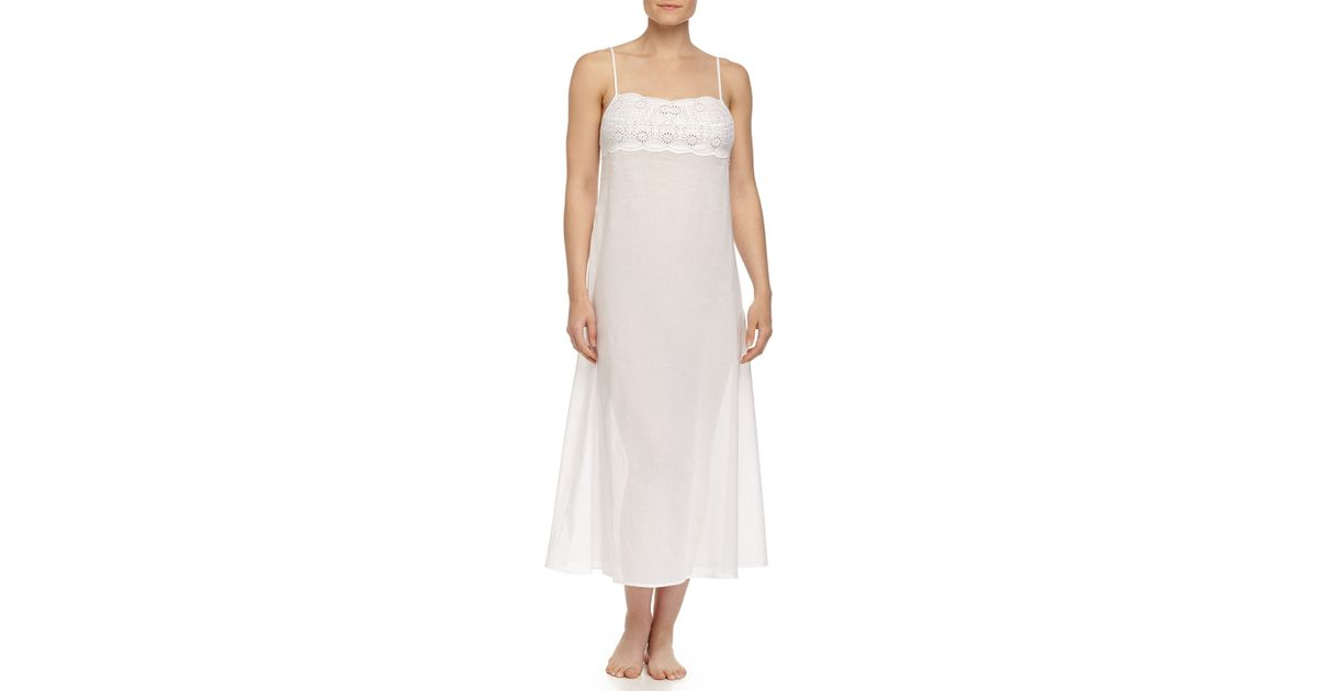 Lyst - La Perla Sangallo Embroidered Long Gown in White