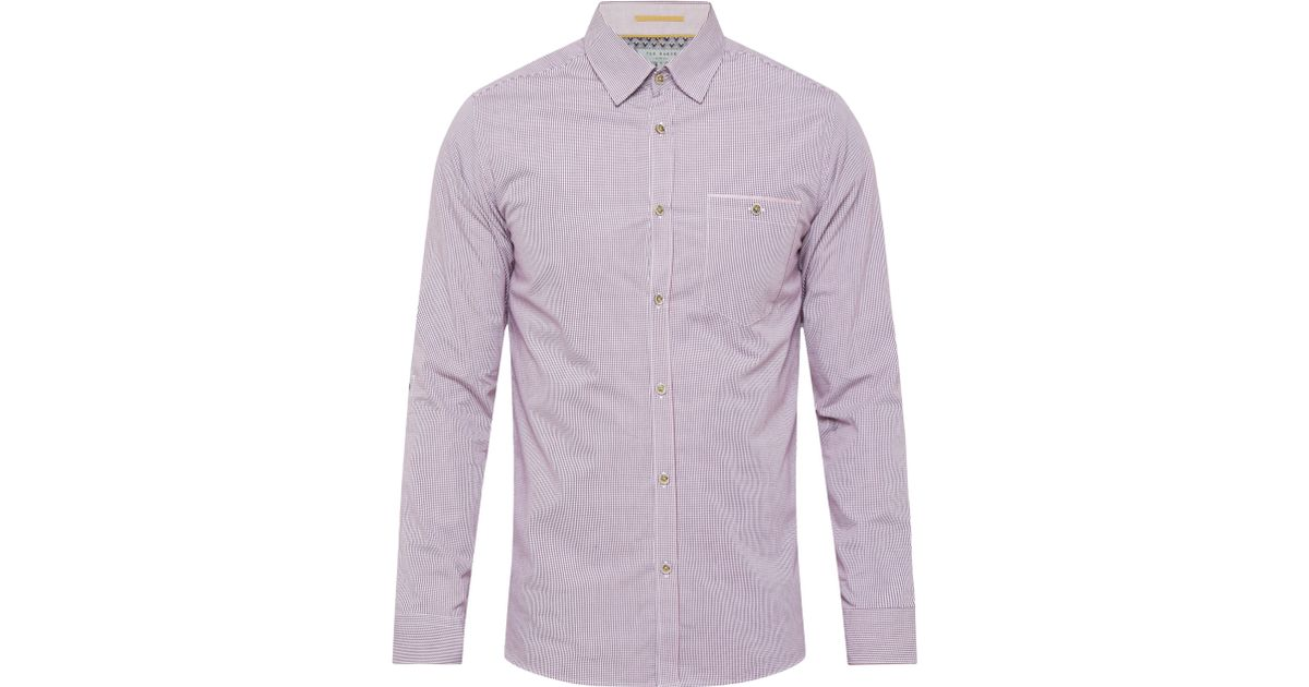 7b6300d6e73609 Ted Baker Twosoft Micro Check Shirt in Purple for Men - Lyst