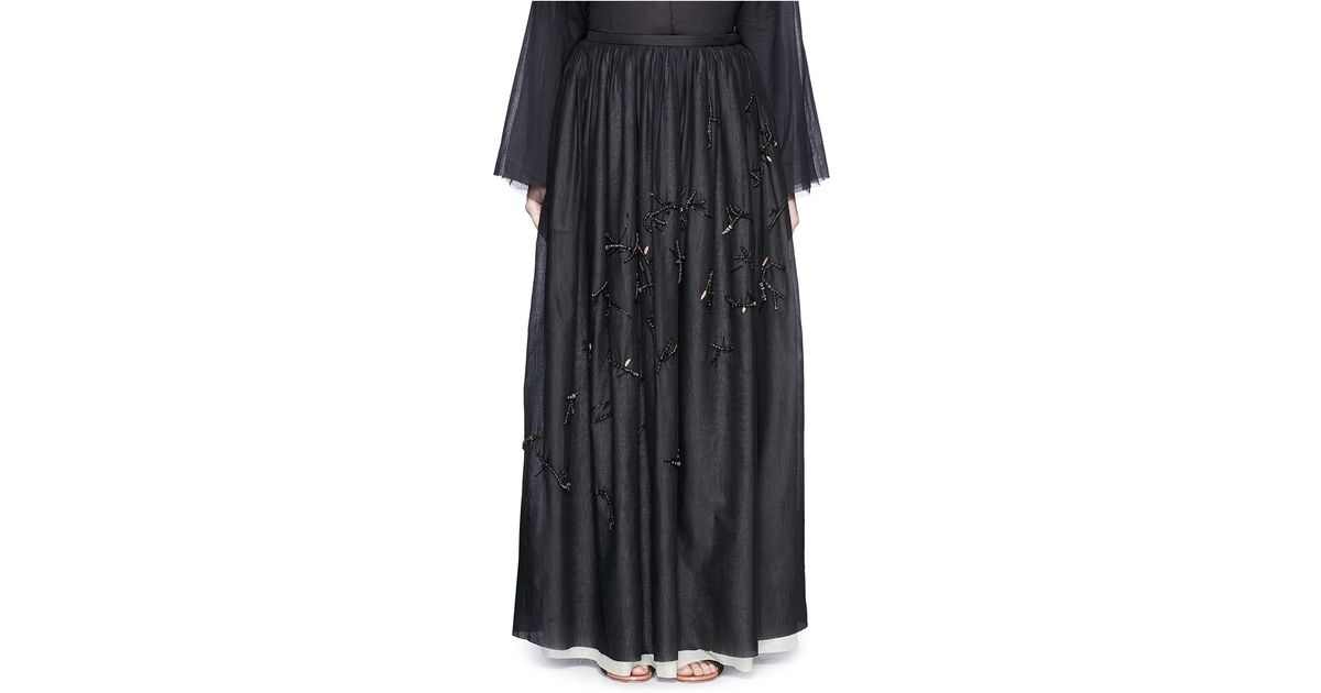 the row nava embellished cotton gauze maxi skirt in