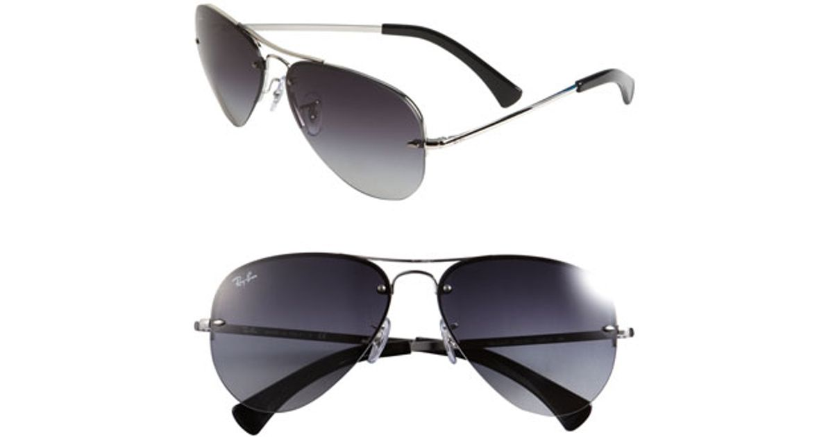 905db08677 ... coupon code for lyst ray ban 59mm semi rimless aviator sunglasses in  metallic d364e 84d06 ...