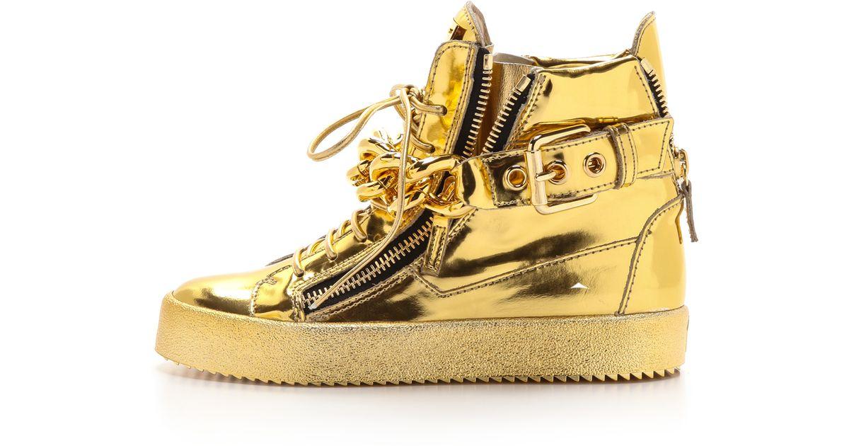 Lyst - Giuseppe Zanotti London Zip Sneakers - Oro in Metallic aa699e8f5a2