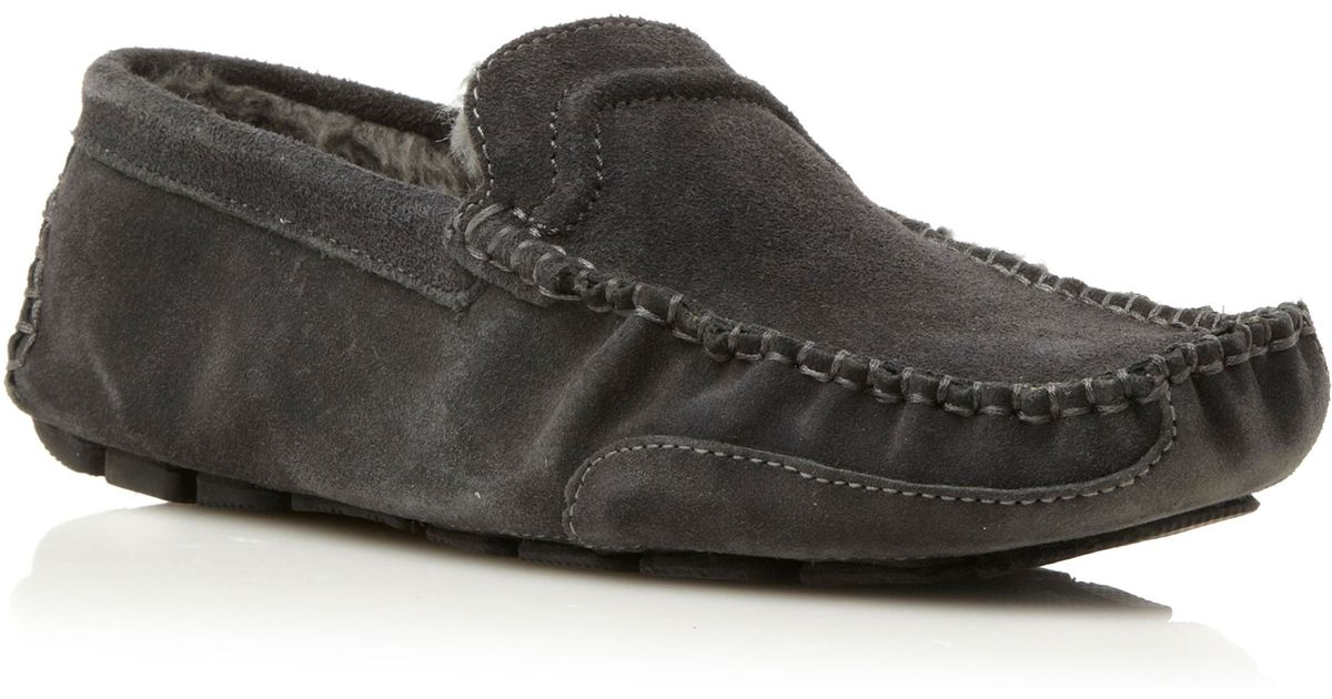 Dune Furlong Faux Fur Lined Driver Slippers In Gray For Men Lyst