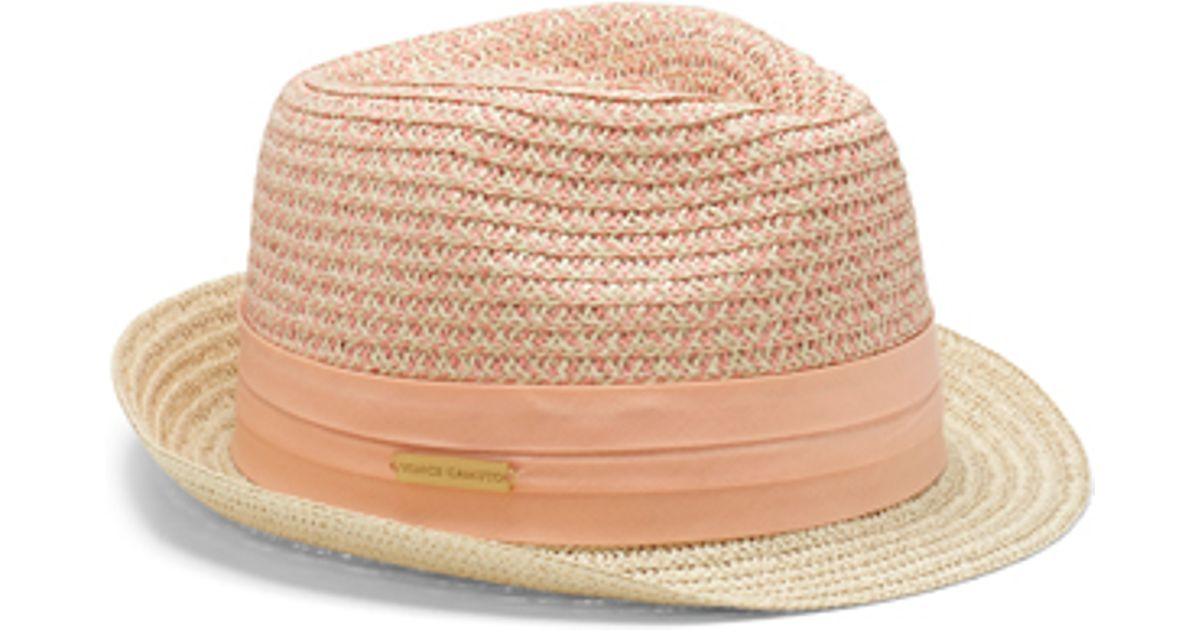 f39234e89 Vince Camuto - Natural Patterned Crown Straw Fedora - Lyst