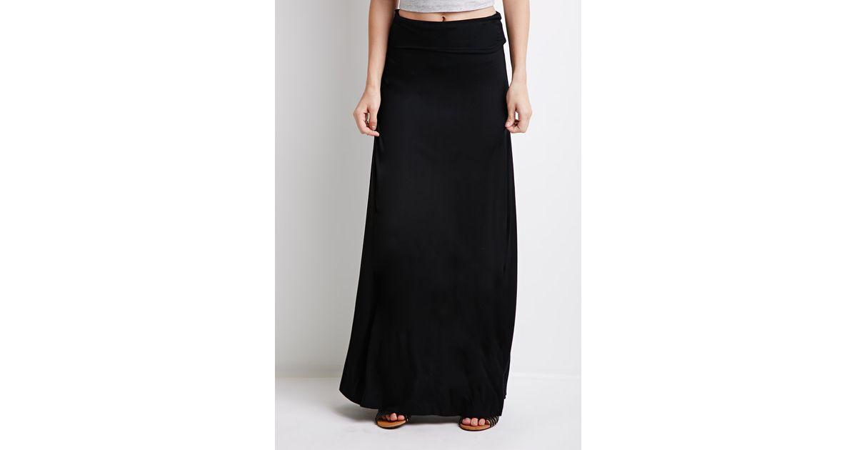 776e11be9b Forever 21 Classic Fold-over Maxi Skirt in Black - Lyst