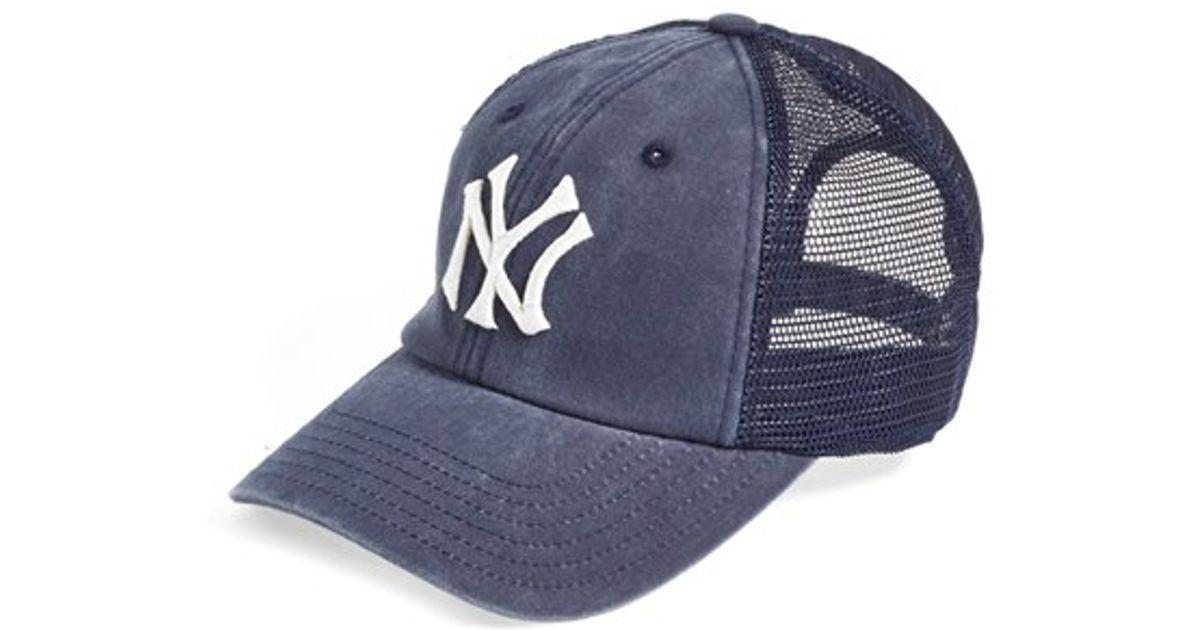 10f6cfa772cbe ... denmark lyst american needle new york yankees raglan bones mesh trucker  cap in blue for men