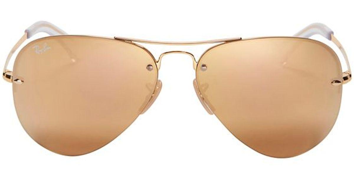 ceffeb4afd68 Ray-Ban Rimless Metallic Aviator Sunglasses - Lyst