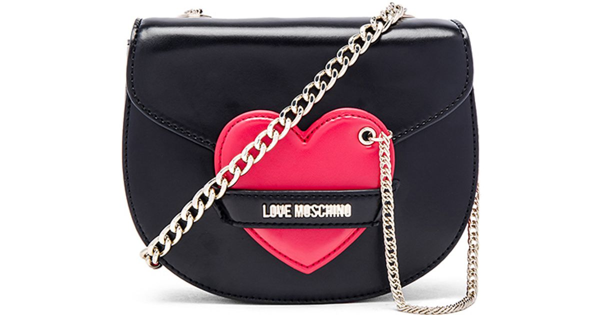 3c218a1f4fa6 Lyst - Love Moschino Heart Faux-Leather Cross-Body Bag in Black