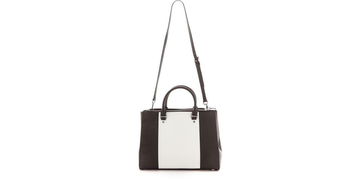 8607e9f3a9 Lyst - MICHAEL Michael Kors Sutton Two-Toned Leather Satchel in White