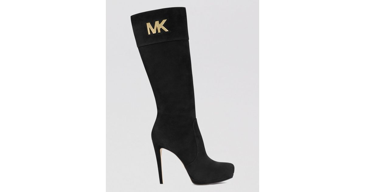 a6ff90f952c8 MICHAEL Michael Kors Tall Dress Boots - Hayley Mk Logo Plate High Heel in  Black - Lyst