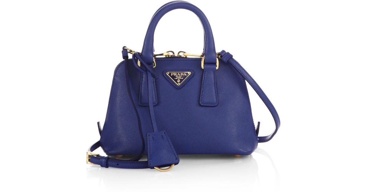 2f0da9593820 ... usa lyst prada saffiano lux double handle mini satchel in blue d7666  2f6e0