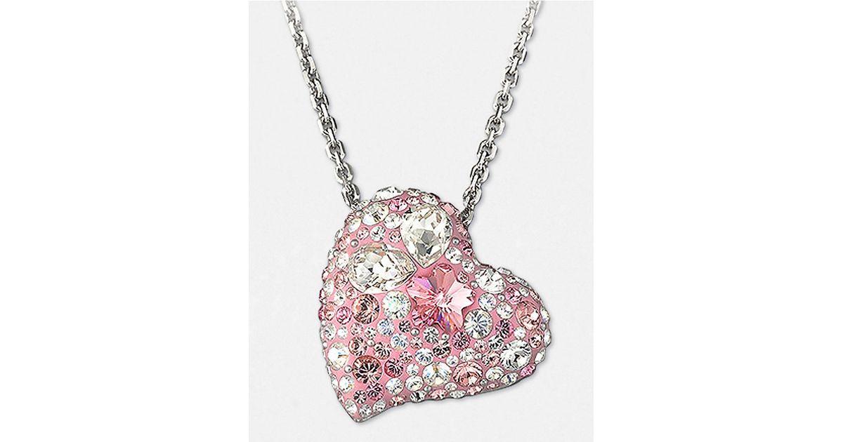 c37d82c1e Lyst Swarovski Alana Crystal Heart Pendant Necklace In Pink