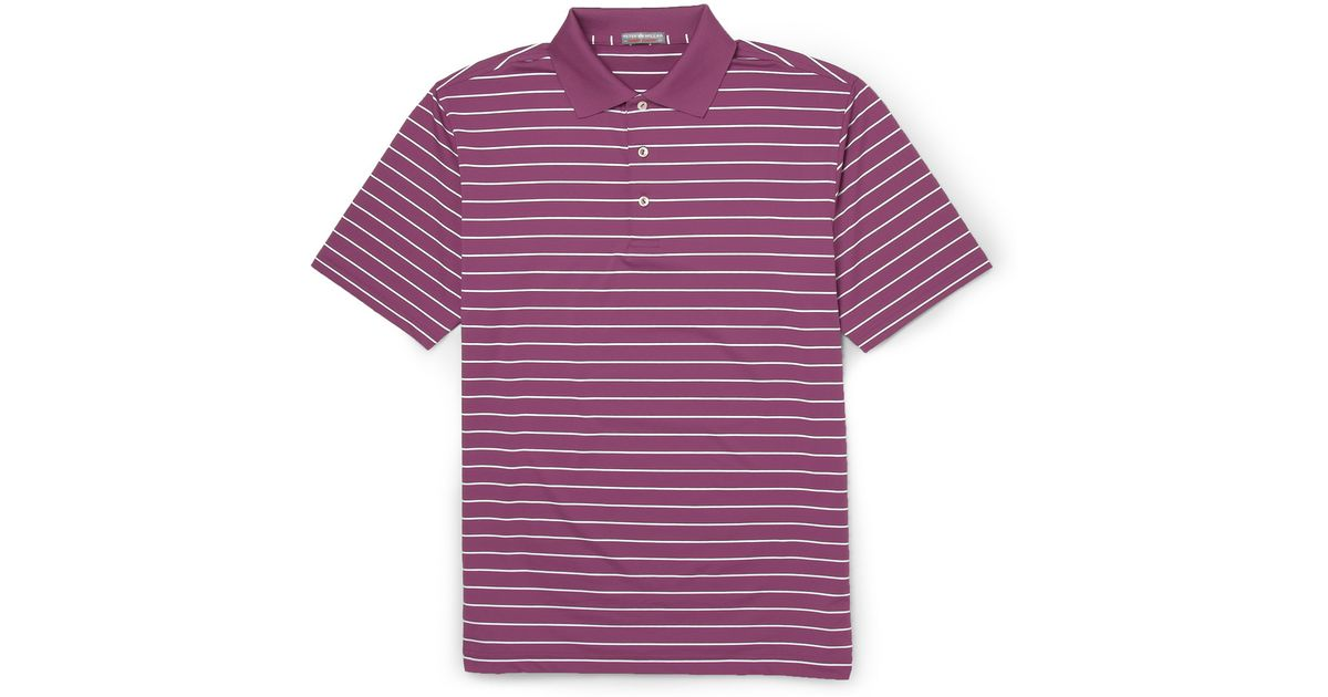 Peter Millar Quarter Striped Stretch Jersey Golf Polo