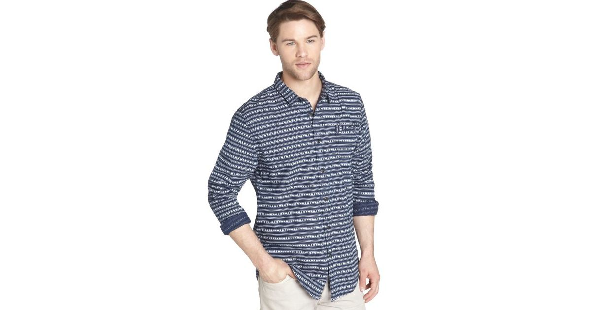 Jachs Blue And White Striped Cotton Long Sleeve Button