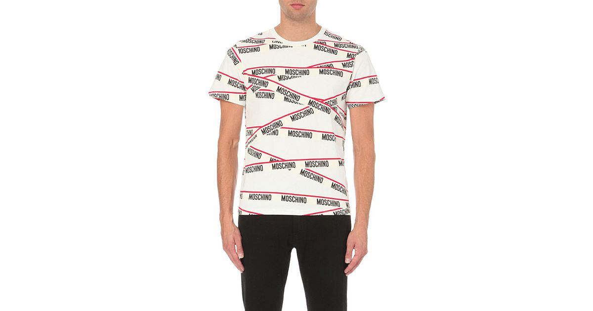 9324ce25 Moschino Tape And Logo-print Stretch-cotton T-shirt - For Men in White for  Men - Lyst