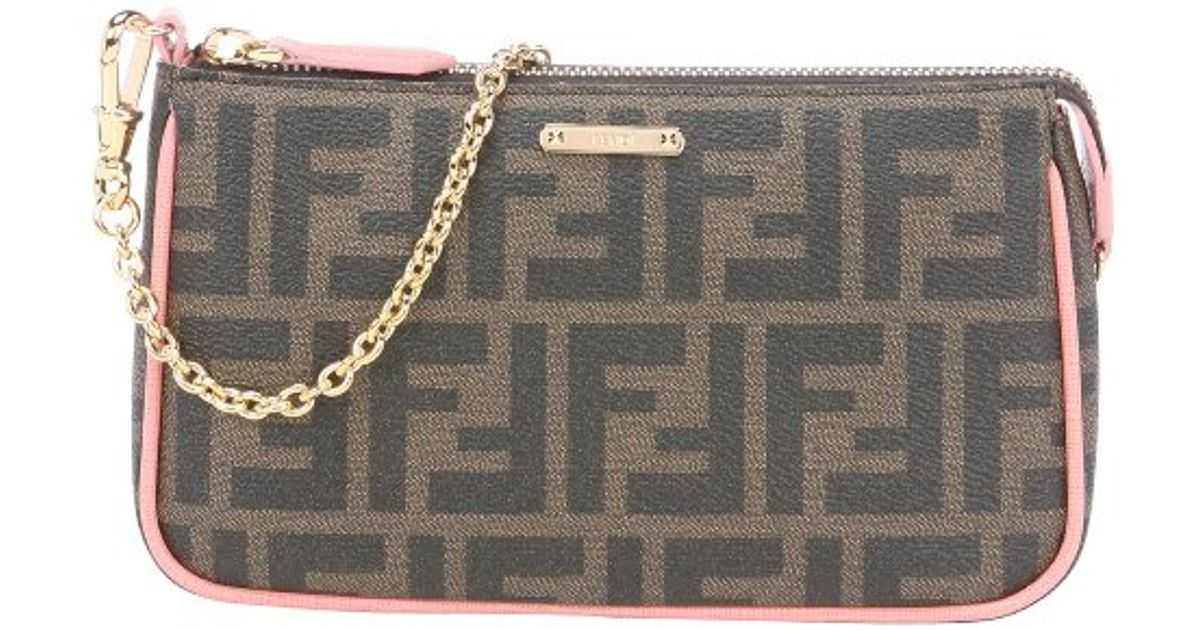 ae375d2f5271 Lyst - Fendi Tobacco Leather Trimmed Zucca Print Coated Canvas Clutch in  Brown