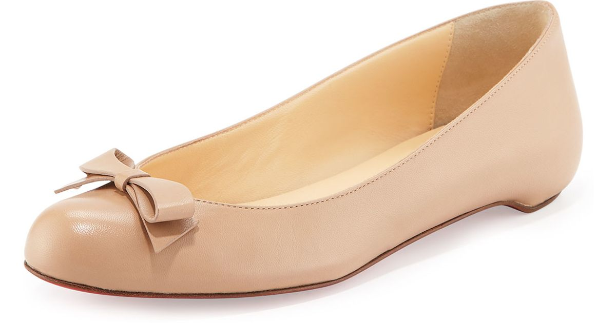 500c3d22b863 Lyst - Christian Louboutin Simplenodo Leather Ballet Flats in Natural