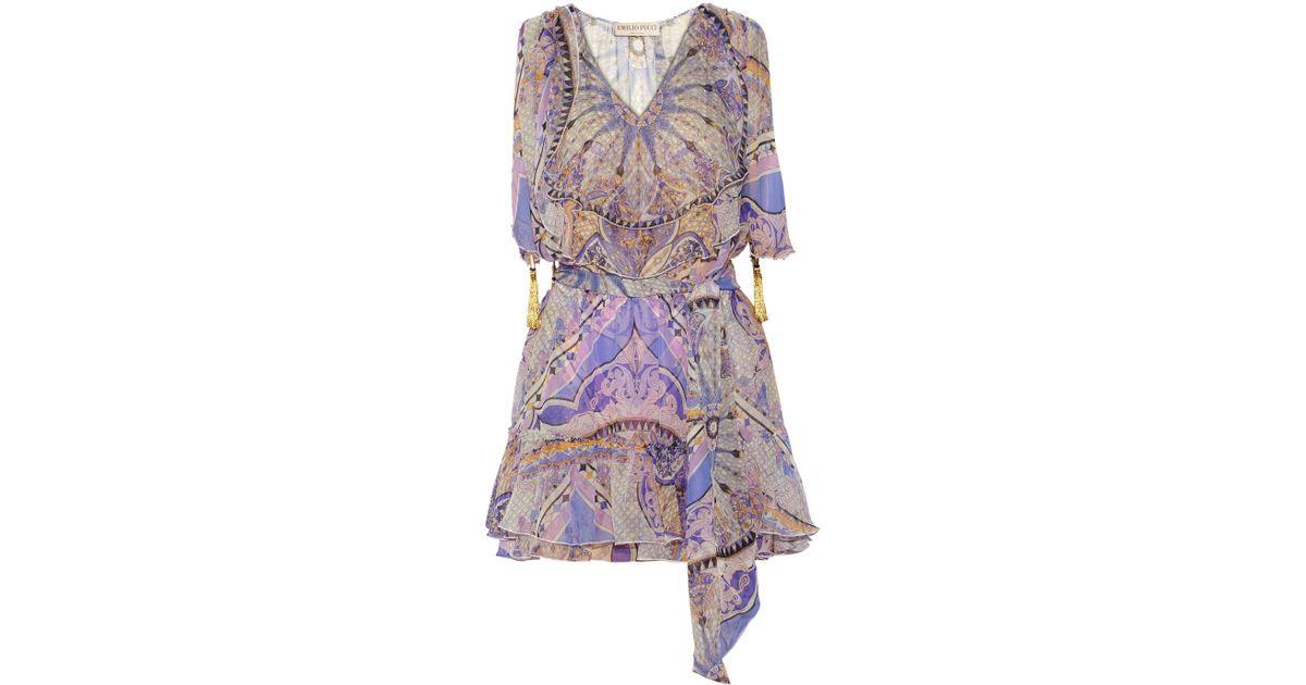 89d292921ace2 Lyst - Emilio Pucci Printed Silkchiffon Mini Dress in Purple