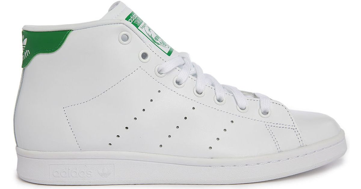 Adidas Originals Stan Smith Leather Mid Top Sneakers In