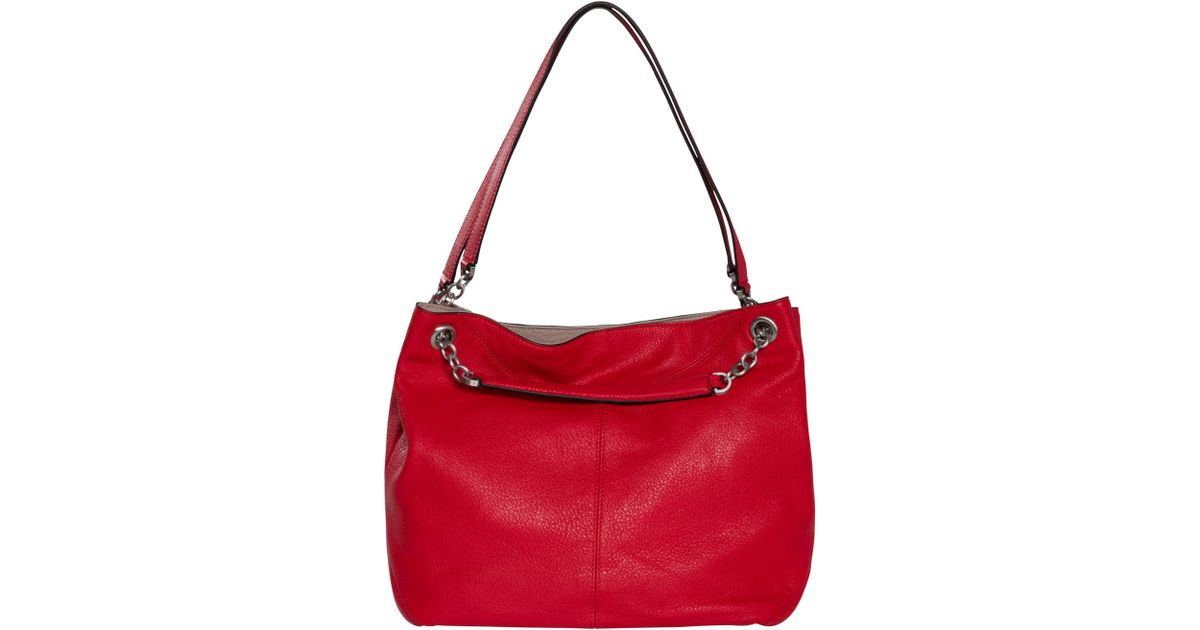 67d4531e1b Calvin Klein Mia Chain Saffiano Leather Tote Bag in Red - Lyst