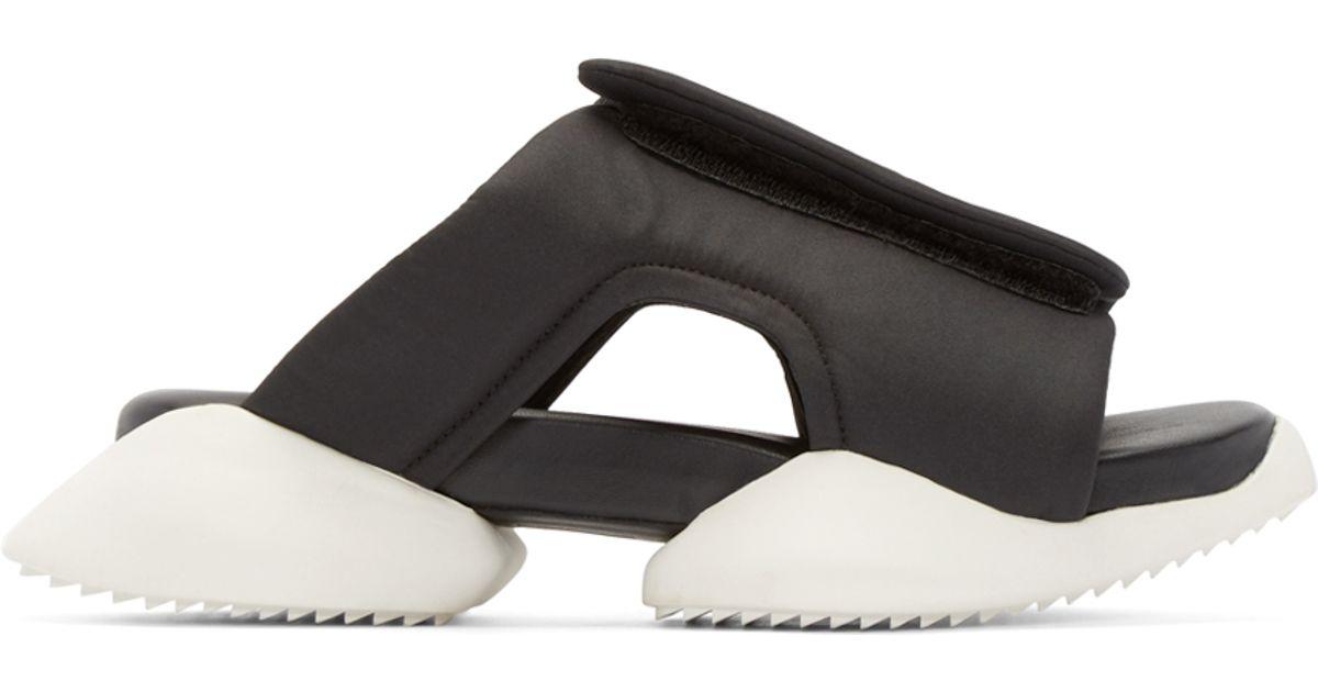 58a9fef0b20bc Lyst - Rick Owens Black   White Adidas By Clog Sandals in Black