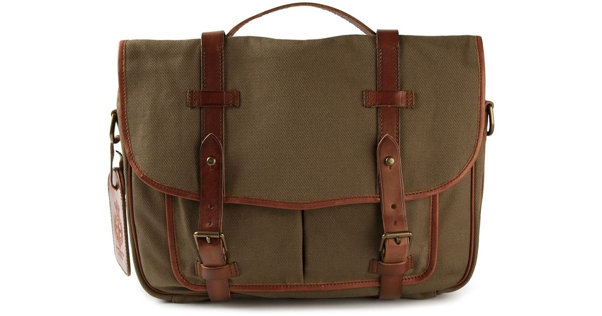 af20083ec9 Lyst - Polo Ralph Lauren Leather Trim Messenger Bag in Green for Men