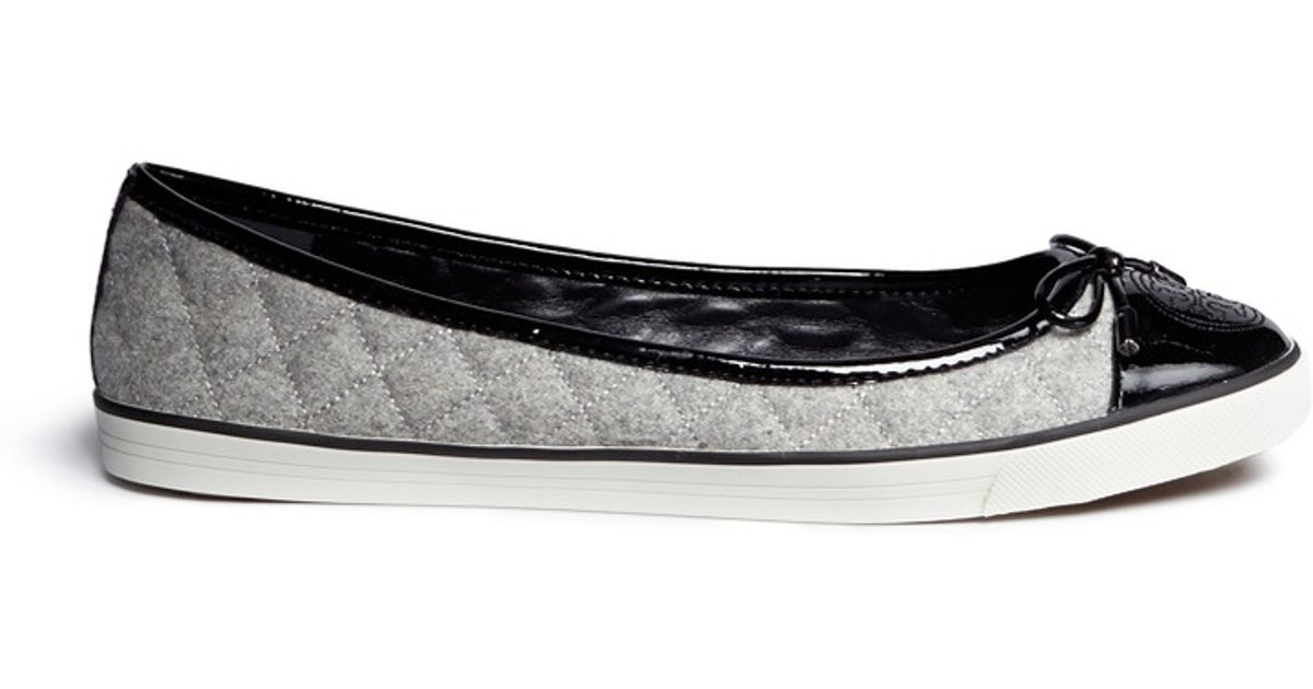 23e36525495694 Lyst - Tory Burch  skyler  Quilted Flannel Flats in Black