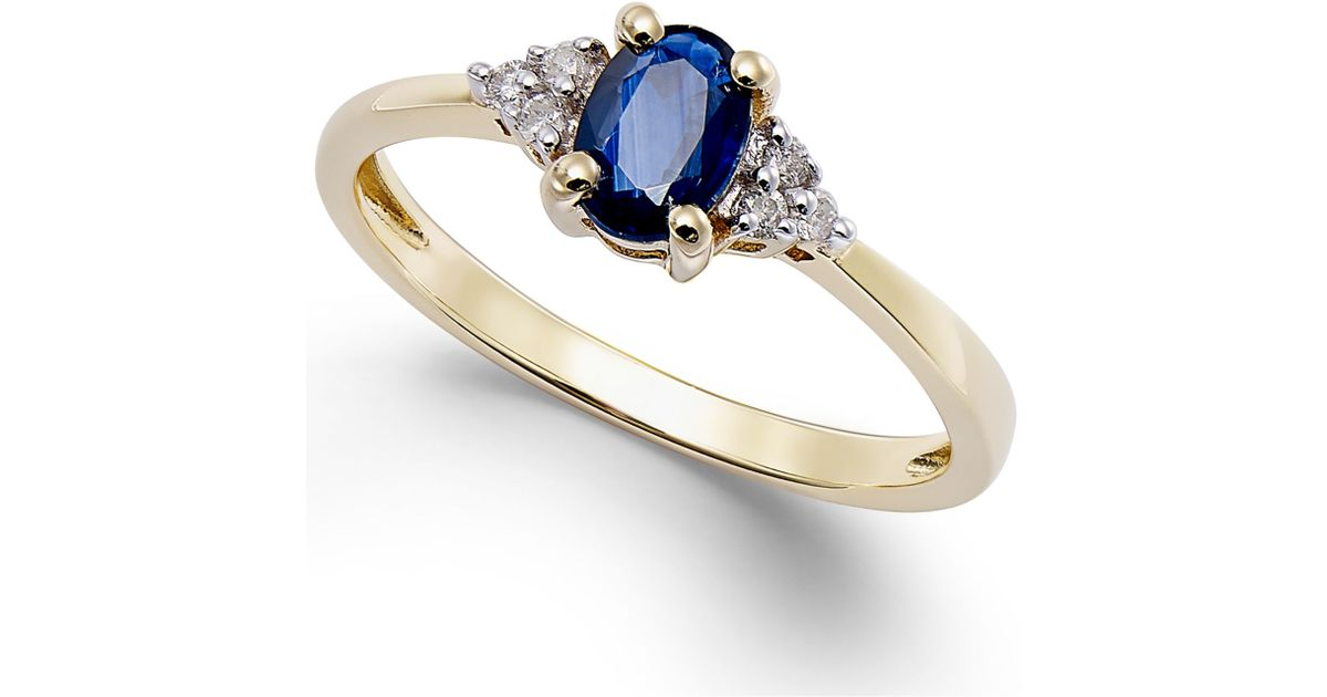 15a3bc5f15d8 Macy's Sapphire (1/2 Ct. T.w.) And Diamond Accent Ring In 10k Gold in Blue  - Lyst