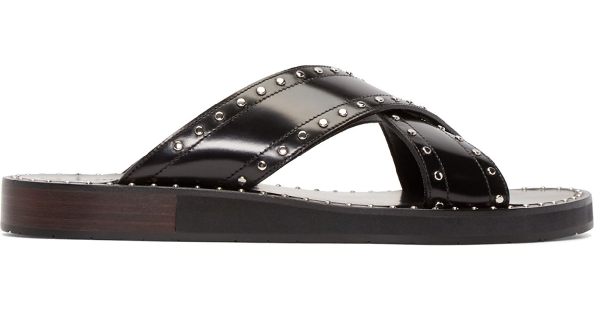 e474678032ab Lyst - Jimmy Choo Black Leather Carl Sandals in Black for Men