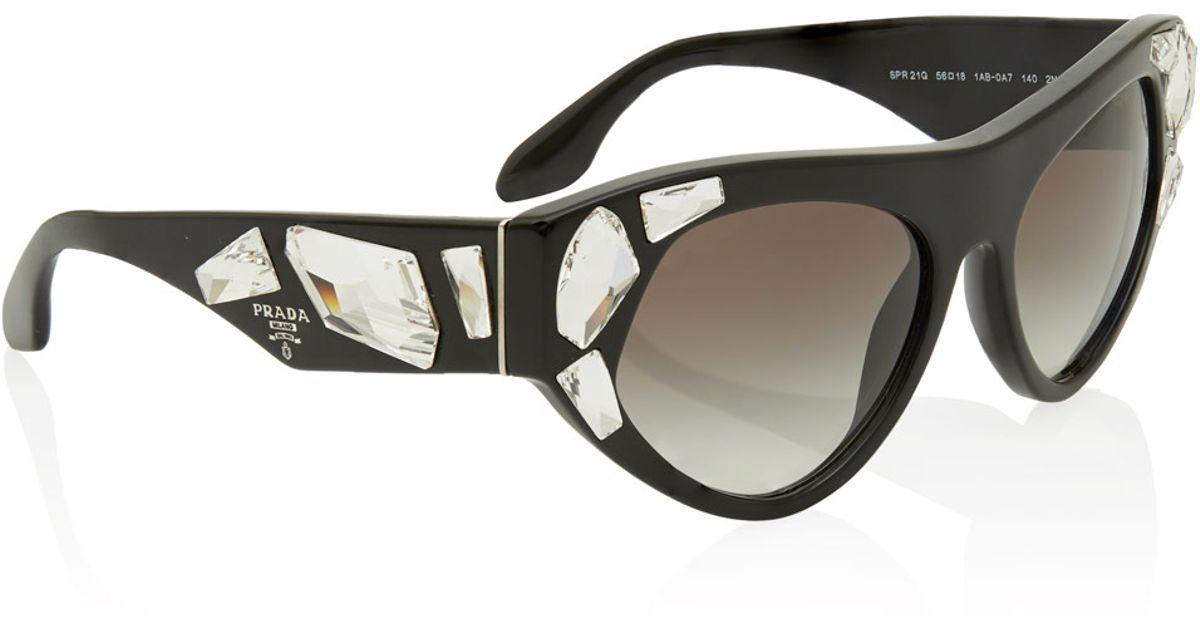 Lyst - Prada Black Crystal Irregular Frame Sunglasses in Black