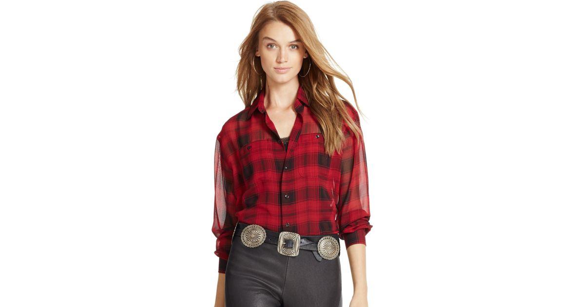 4915664a3 Polo Ralph Lauren Silk Plaid Shirt in Black - Lyst