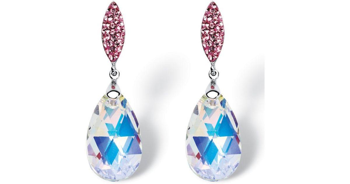 Lyst Palmbeach Jewelry Pear Cut Aurora Borealis Crystal Drop Earrings Made With Swarovski Elements In Silvertone Metallic