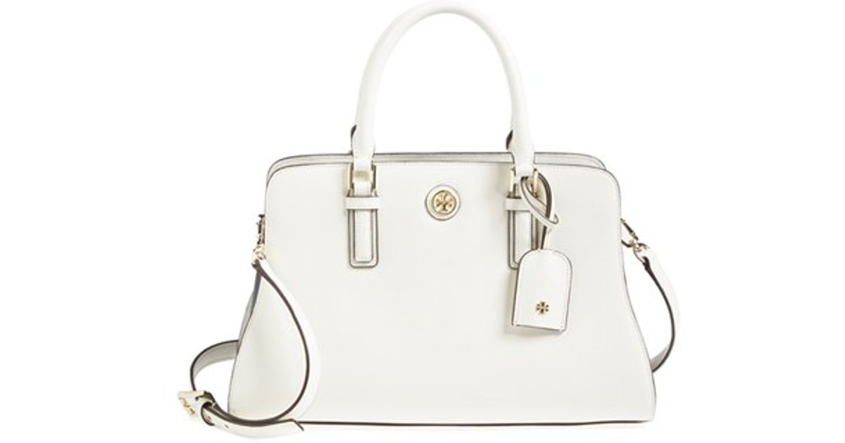 6257341fd5c Lyst - Tory Burch  robinson - Curved  Leather Satchel in White