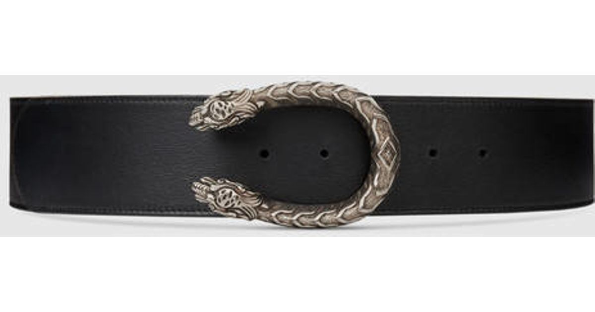 bec20356e Gucci Leather Belt With Tiger Head in Black - Lyst