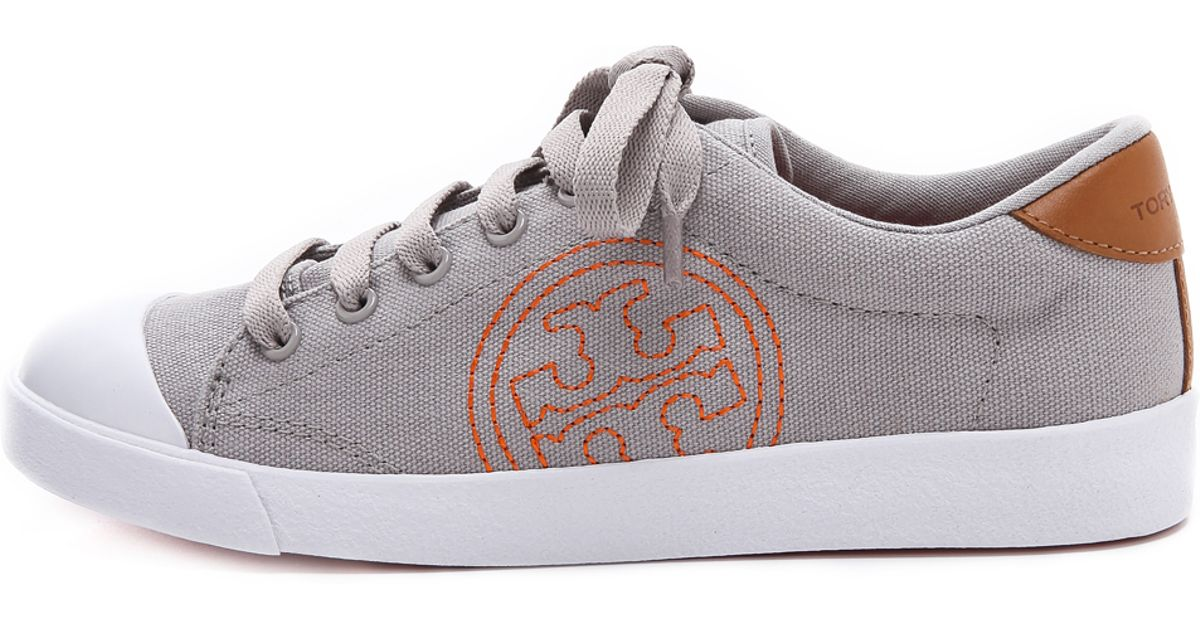400358490e0c Tory Burch Wally Logo Stitch Sneakers Ivorytanpoppy Redivory in Gray - Lyst