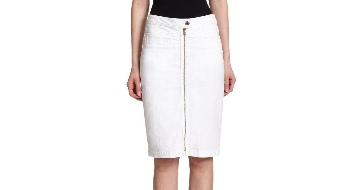 7 for all mankind denim zip pencil skirt in white lyst