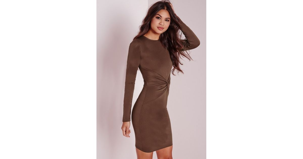 Lyst - Missguided Long Sleeve Twist Front Bodycon Dress Chocolate in Brown d1804af125a9