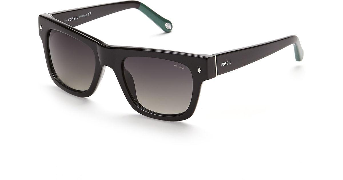 31c08477e21 Lyst - Fossil 2002 P S Black Wayfarer Polarized Sunglasses in Black for Men