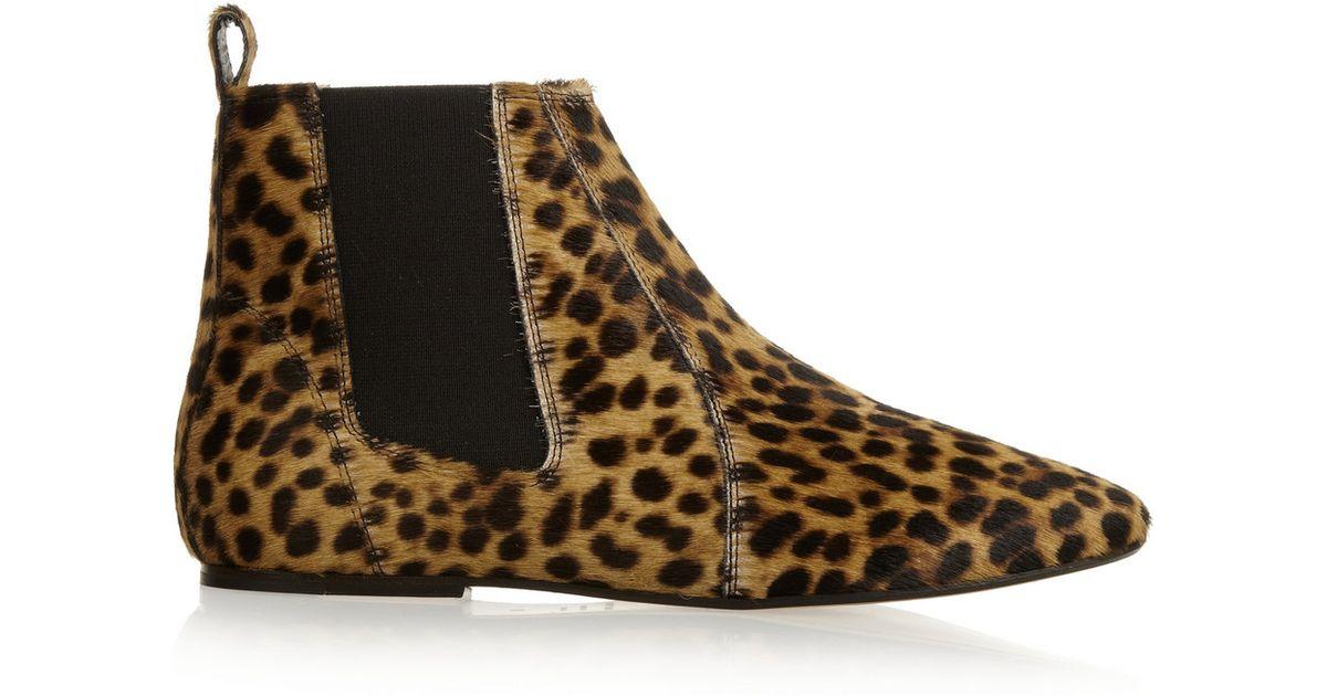 4a9170427eb Isabel Marant Étoile Dewar Leopardprint Calf Hair Ankle Boots - Lyst