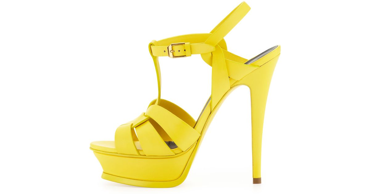 0d9aa07a001 Lyst - Saint Laurent Womens Tribute High-Heel Leather Sandal Mustard in  Yellow