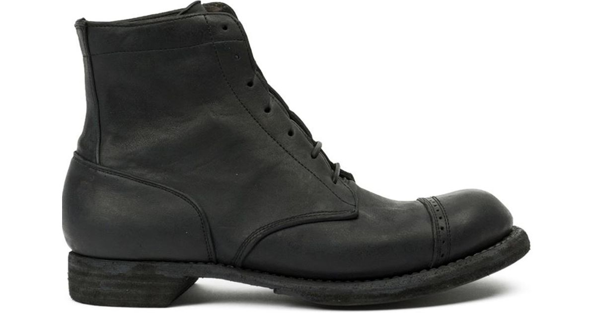guidi ankle combat boots in black for lyst